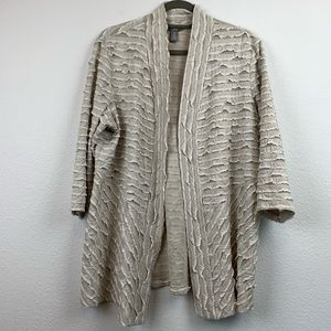 Chicos 3 size extra large open front cardigan